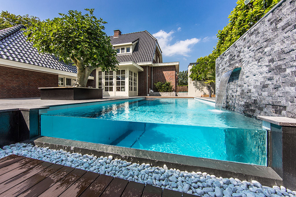 dream backyard garden with amazing glass swimming pool - Backyard Swimming Pool Designs