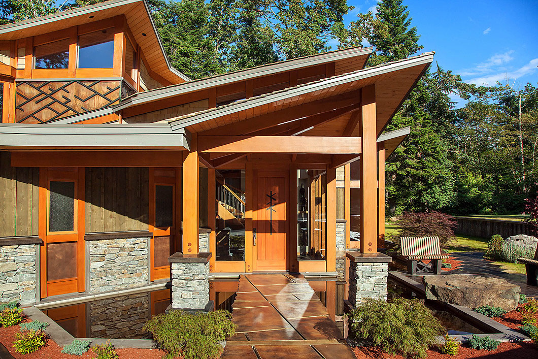Luxury west coast contemporary timber frame oceanfront for West coast contemporary house plans
