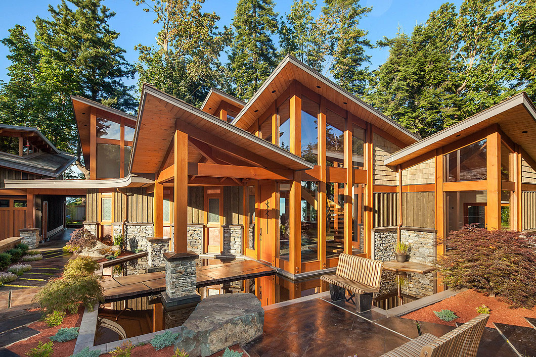 Luxury west coast contemporary timber frame oceanfront for Contemporary timber homes