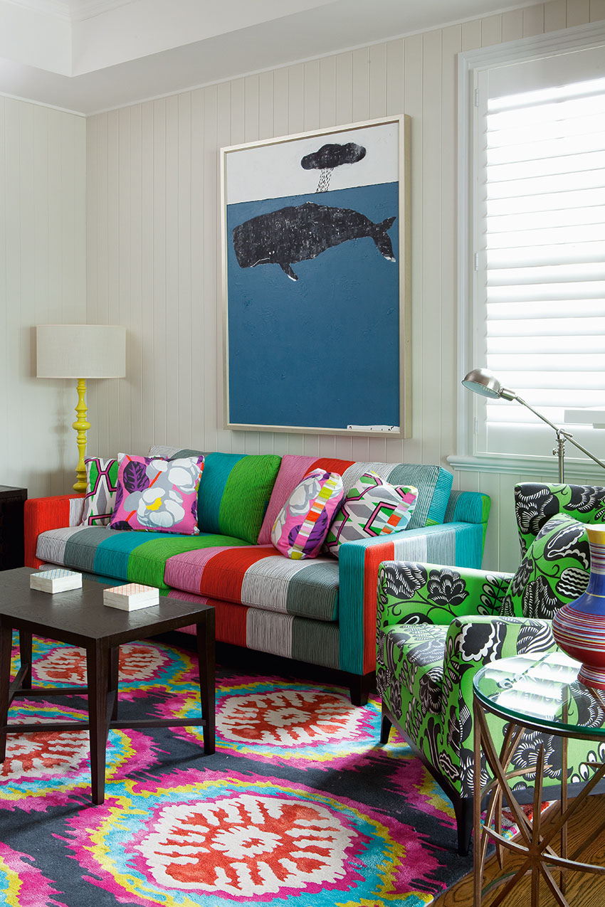 colorful sofa in jamaican inspired decor - Eclectic Decor