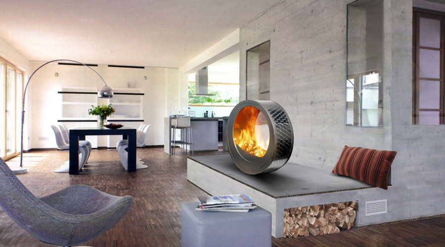 Movable Contemporary Fireplace  iDesignArch  Interior ...