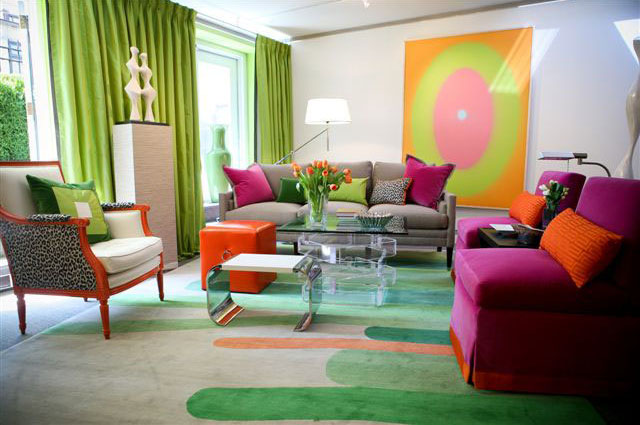 jazz up your living room with colourful pillows - Colourful Living Room