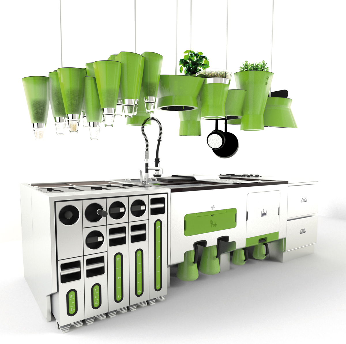 Eco friendly futuristic kitchen for Eco friendly kitchen products