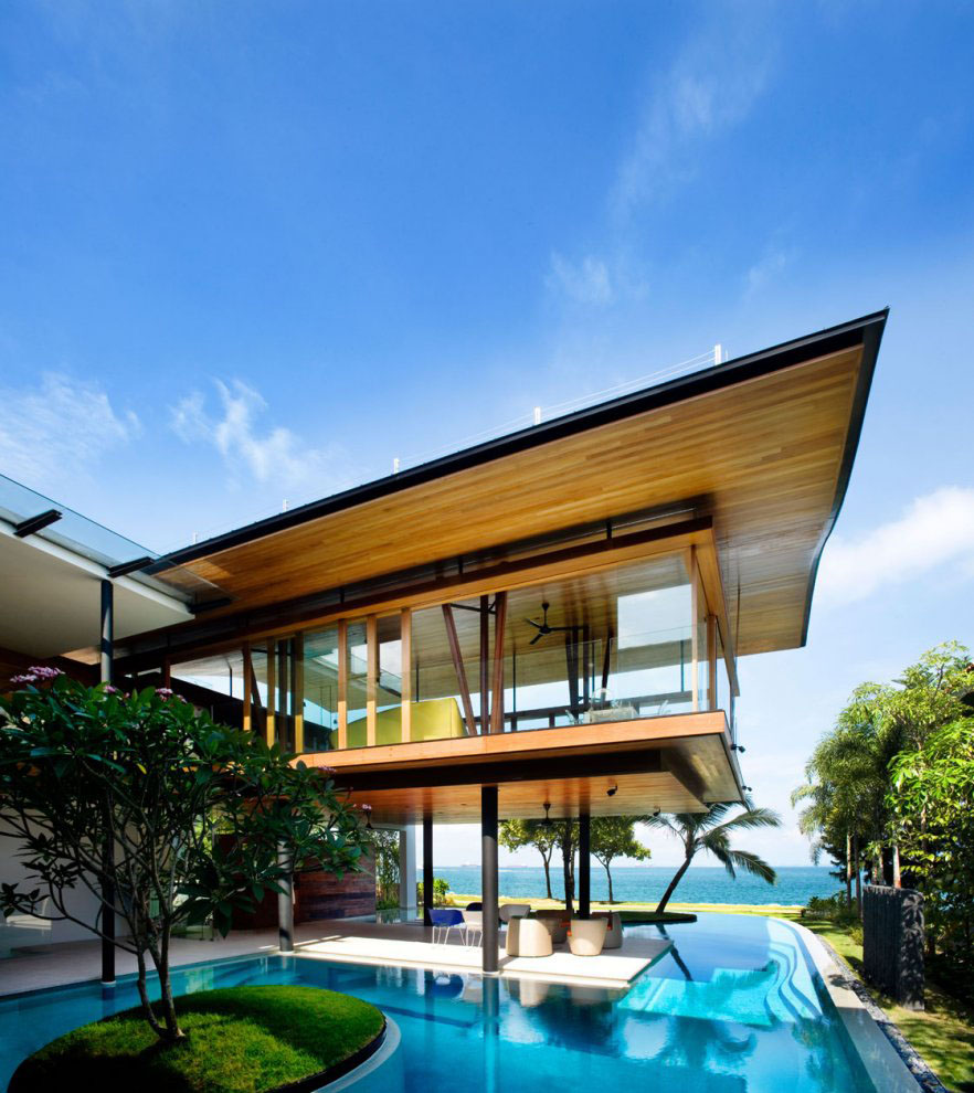 Environmentally friendly modern tropical house in for Contemporary beach house plans