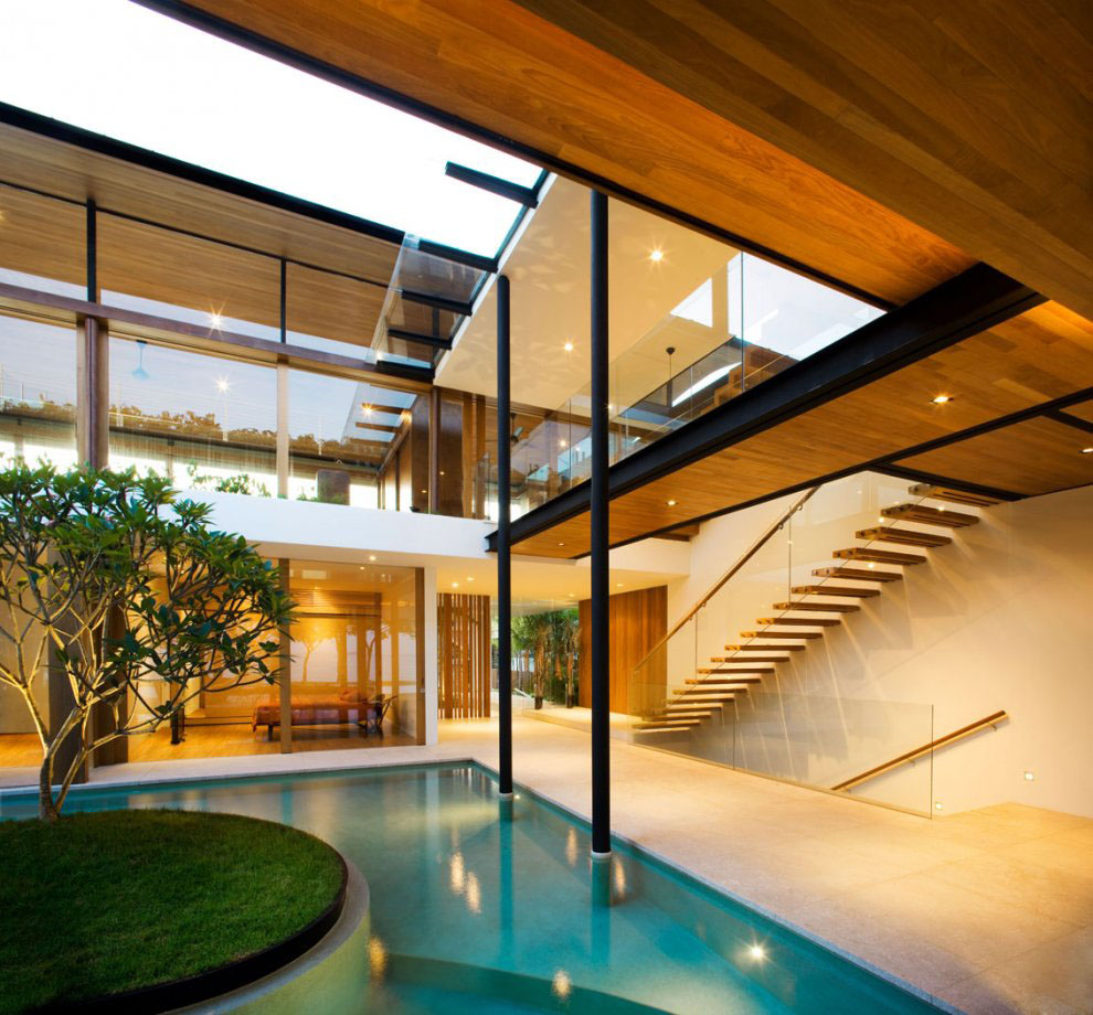 Environmentally friendly modern tropical house in for Pool house interior
