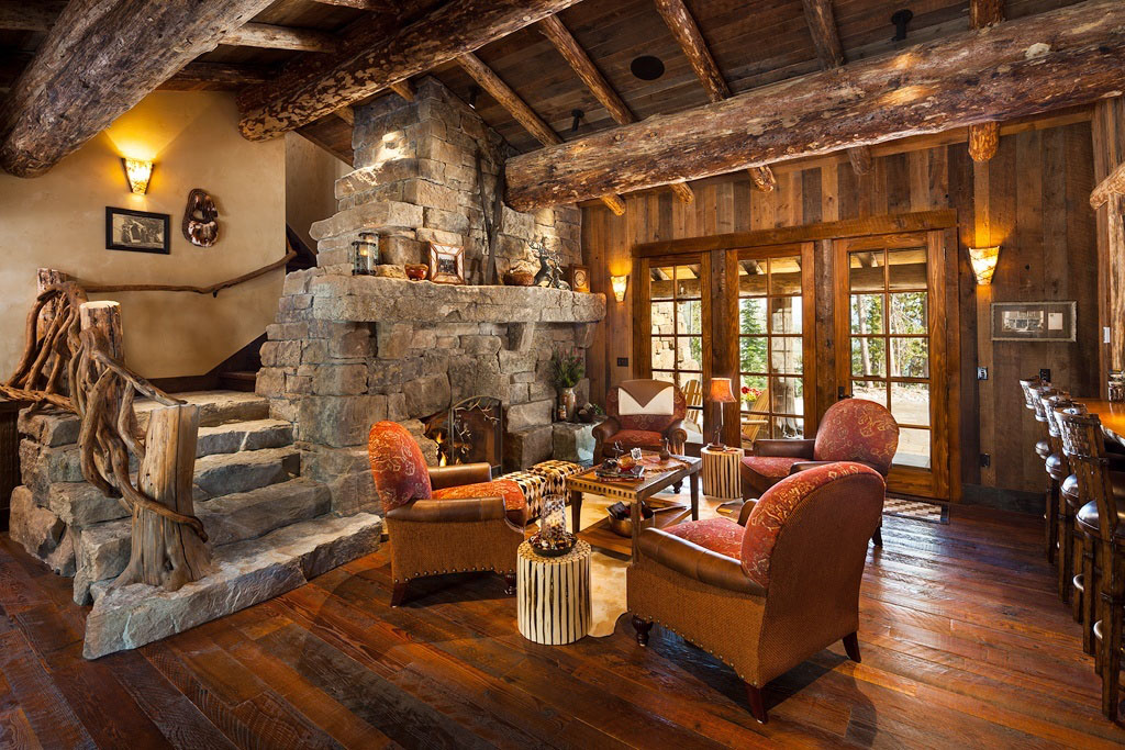 luxury rustic mountain view log home - Cabin Interior Design Photos