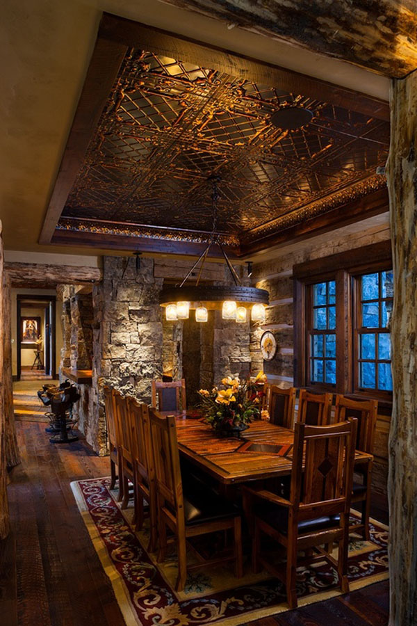 Old west inspired luxury rustic log cabin in big sky montana idesignarch interior design - Rustic dining room furniture bringing cozy nature atmosphere inside ...
