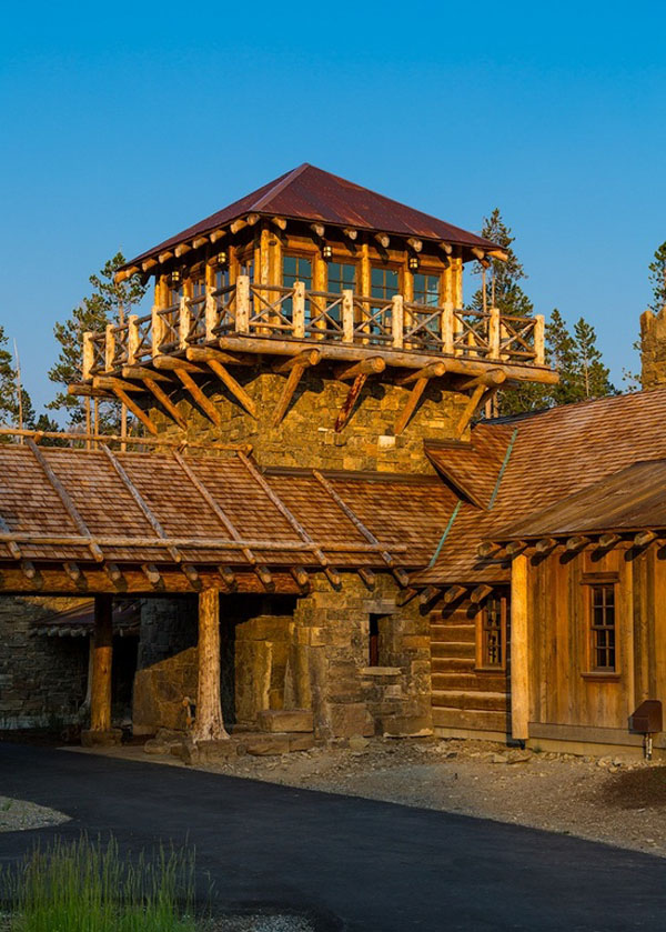Old west inspired luxury rustic log cabin in big sky for Montana home builders