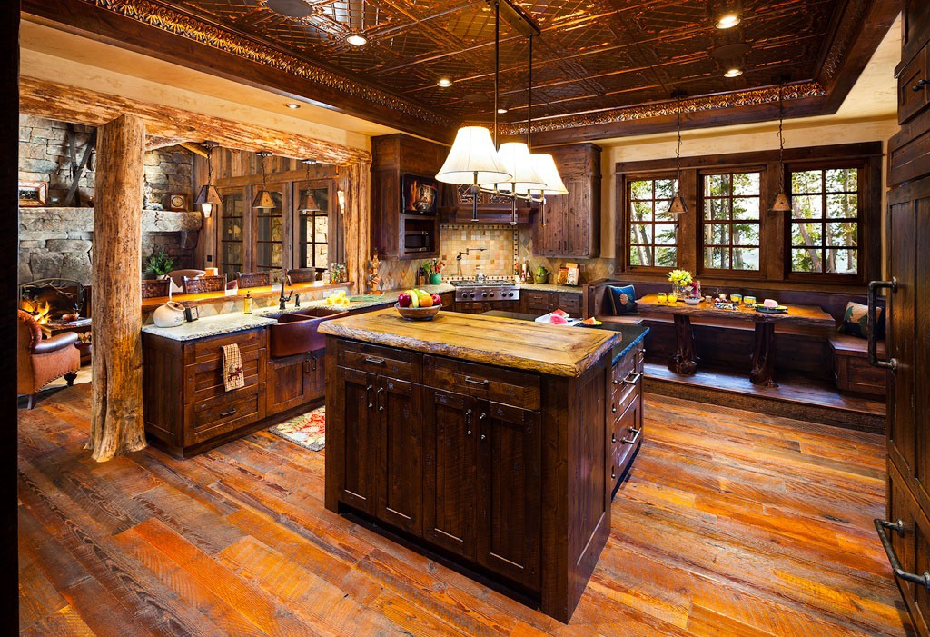 Old west inspired luxury rustic log cabin in big sky for Log home kitchen designs