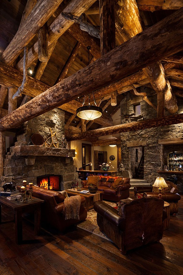 Old west inspired luxury rustic log cabin in big sky for Wood cabin homes