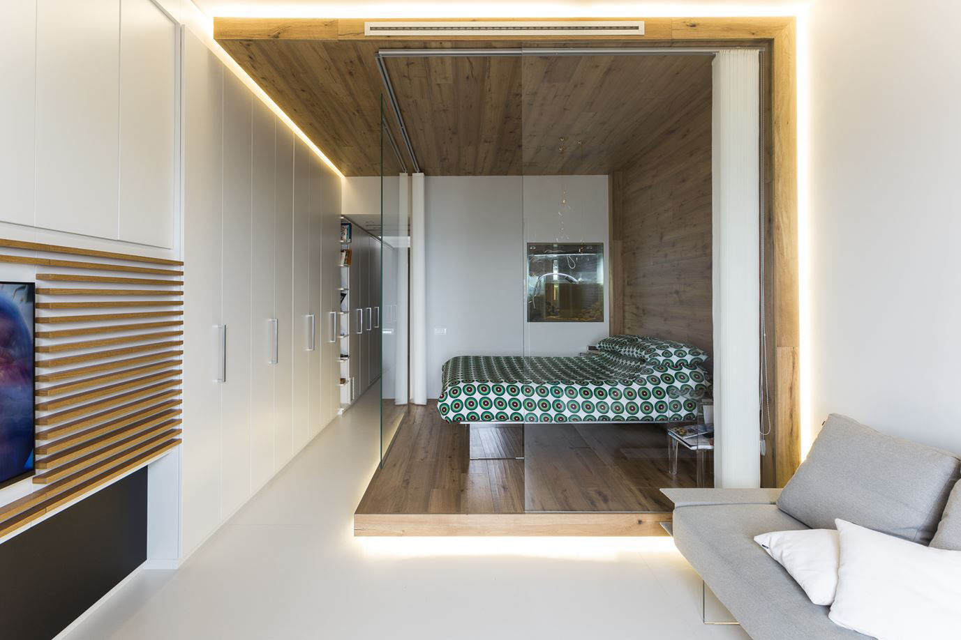 ... Small Studio Apartment With Functional Custom Closet And Glass Bedroom
