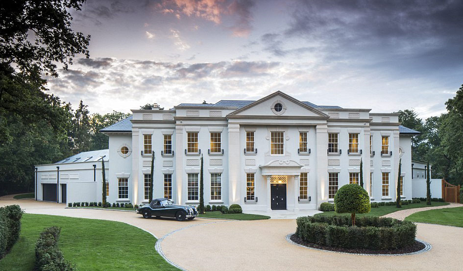 Stunning contemporary classical mansion in surrey for Huge modern mansion