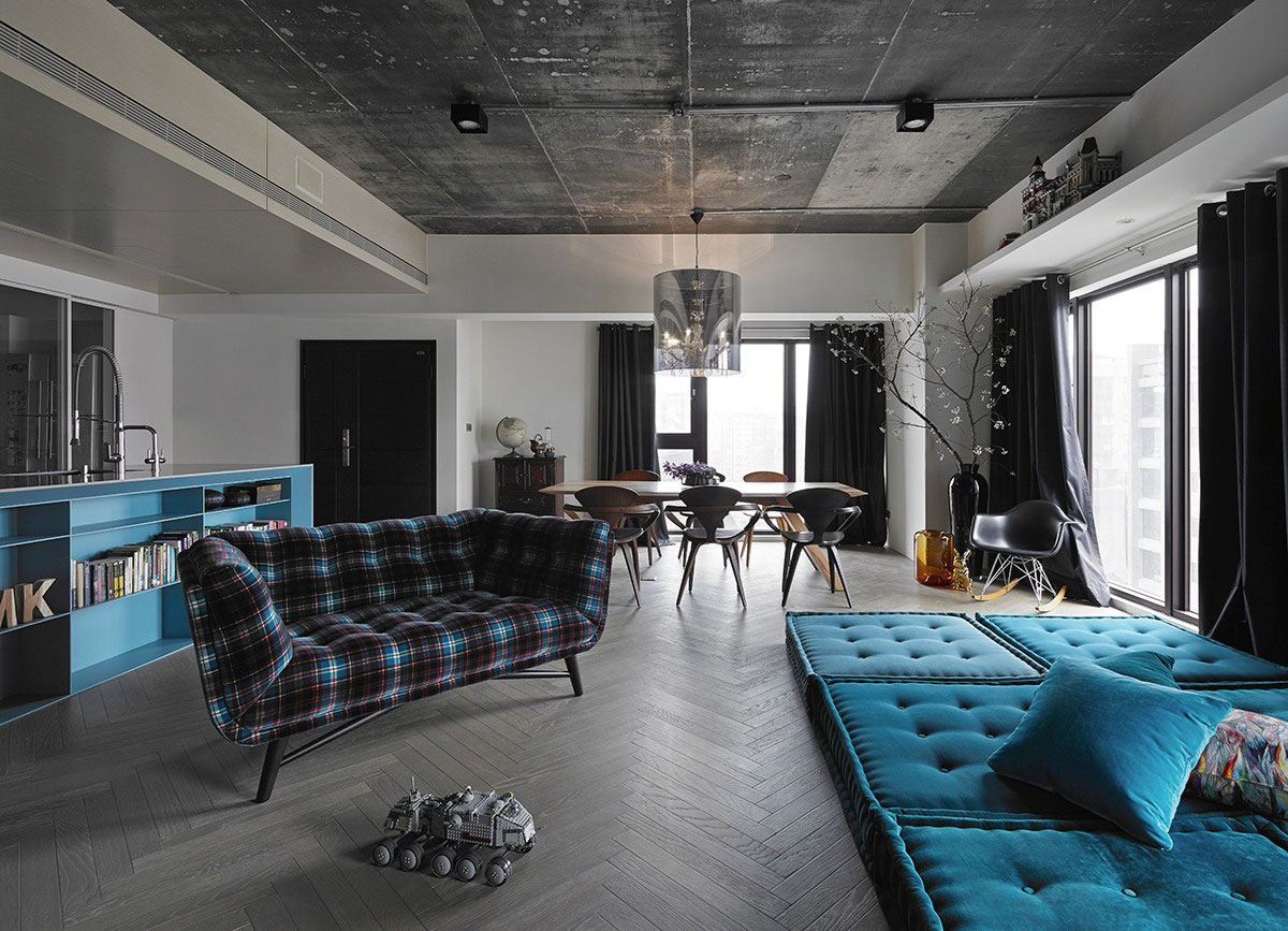 city apartment effective use of blue against concrete and greyish