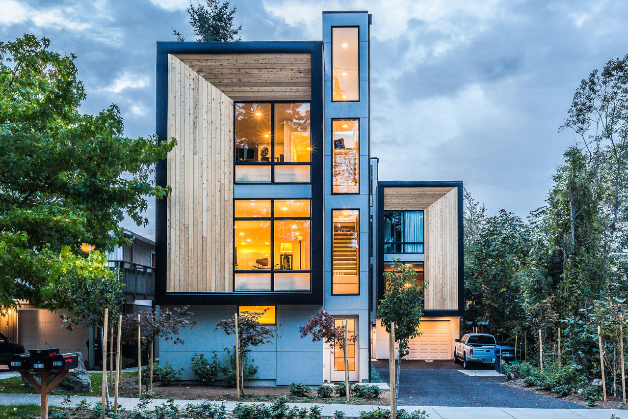 Modern prefab modular townhouses designed for urban living for Prefab homes designs