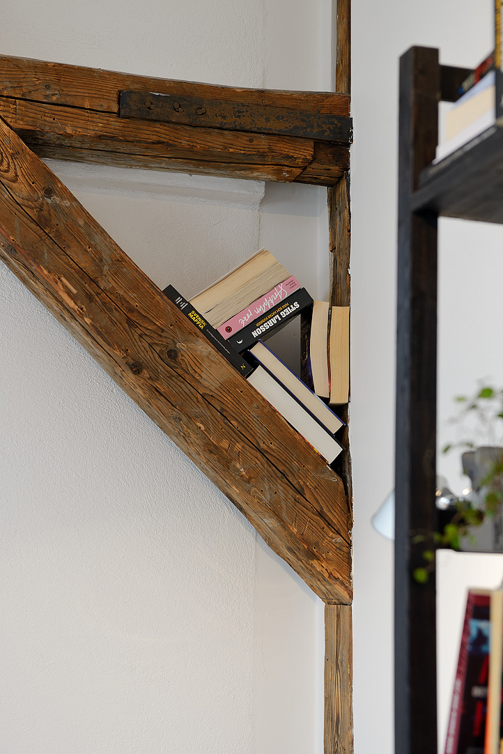 Wood Beams Book Shelf