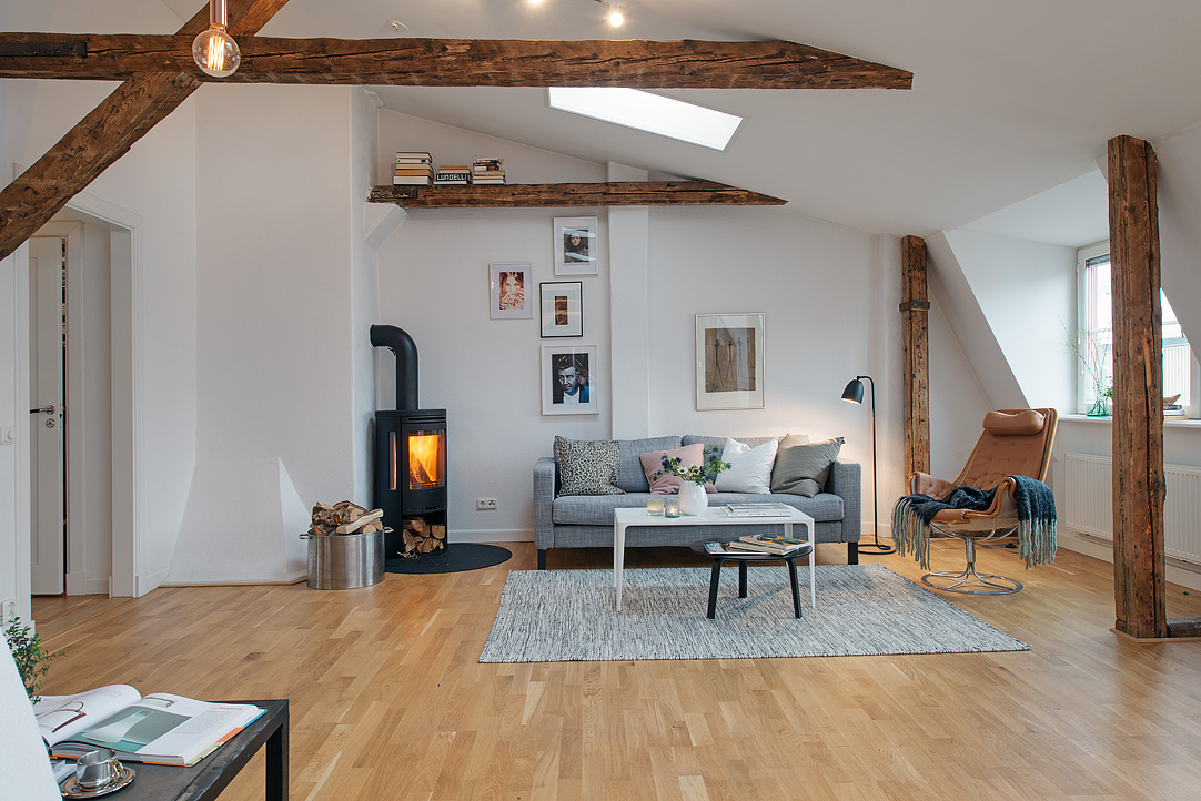 Refurbished Loft Apartment With Exposed Wood Beams
