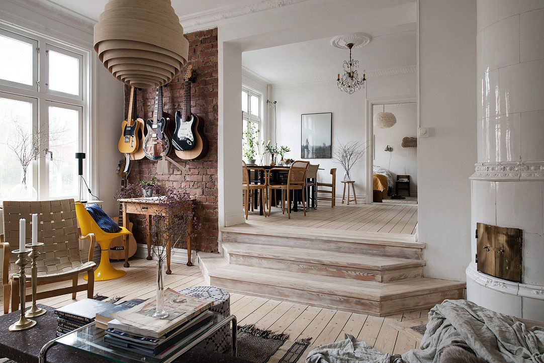 Stylishly renovated modern apartment with wooden floor and - Modern apartment interior design ...