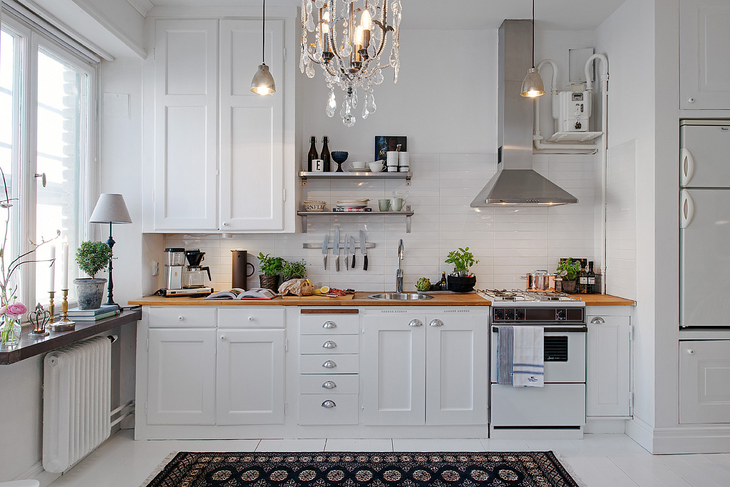 Modern White Kitchen Design. Modern Studio Apartment In Sweden