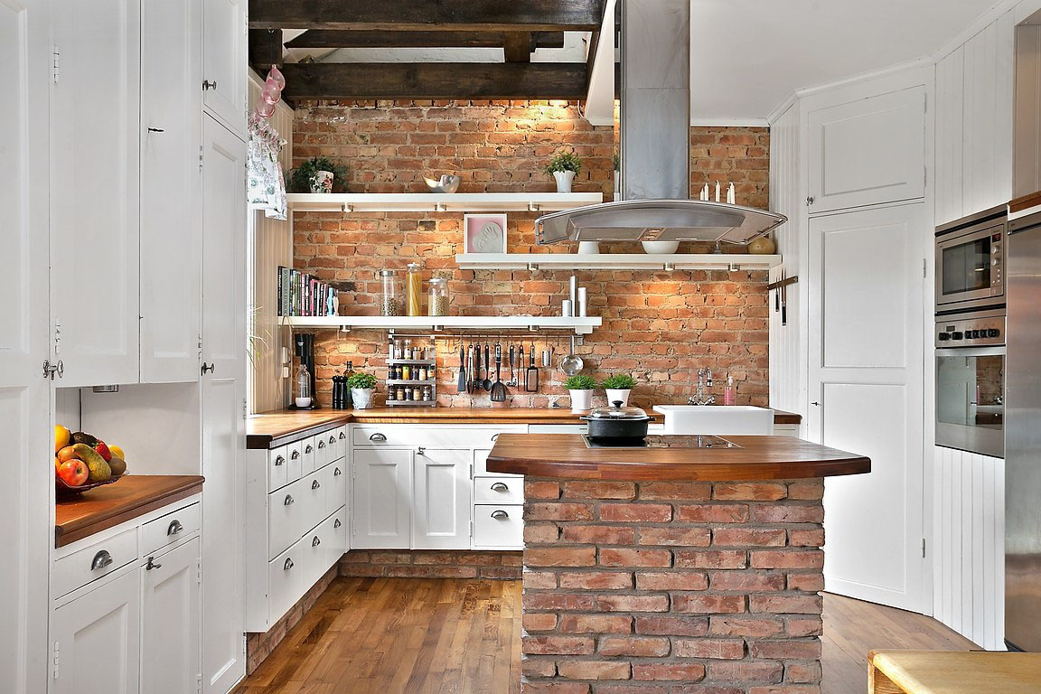 Rustic Country Style Kitchen With Brick Wall