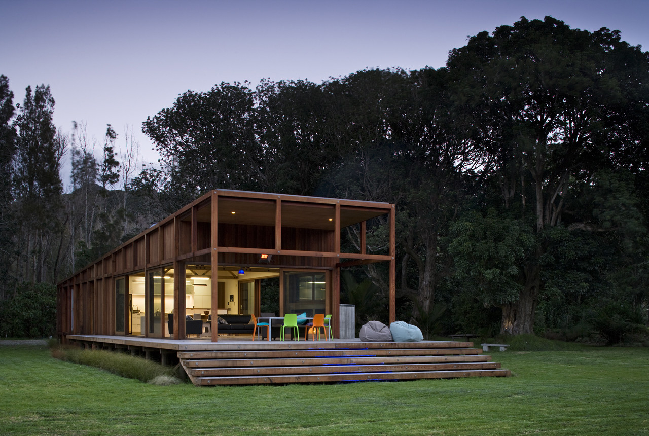Great barrier island sustainable house surrounded by for Sustainable house design