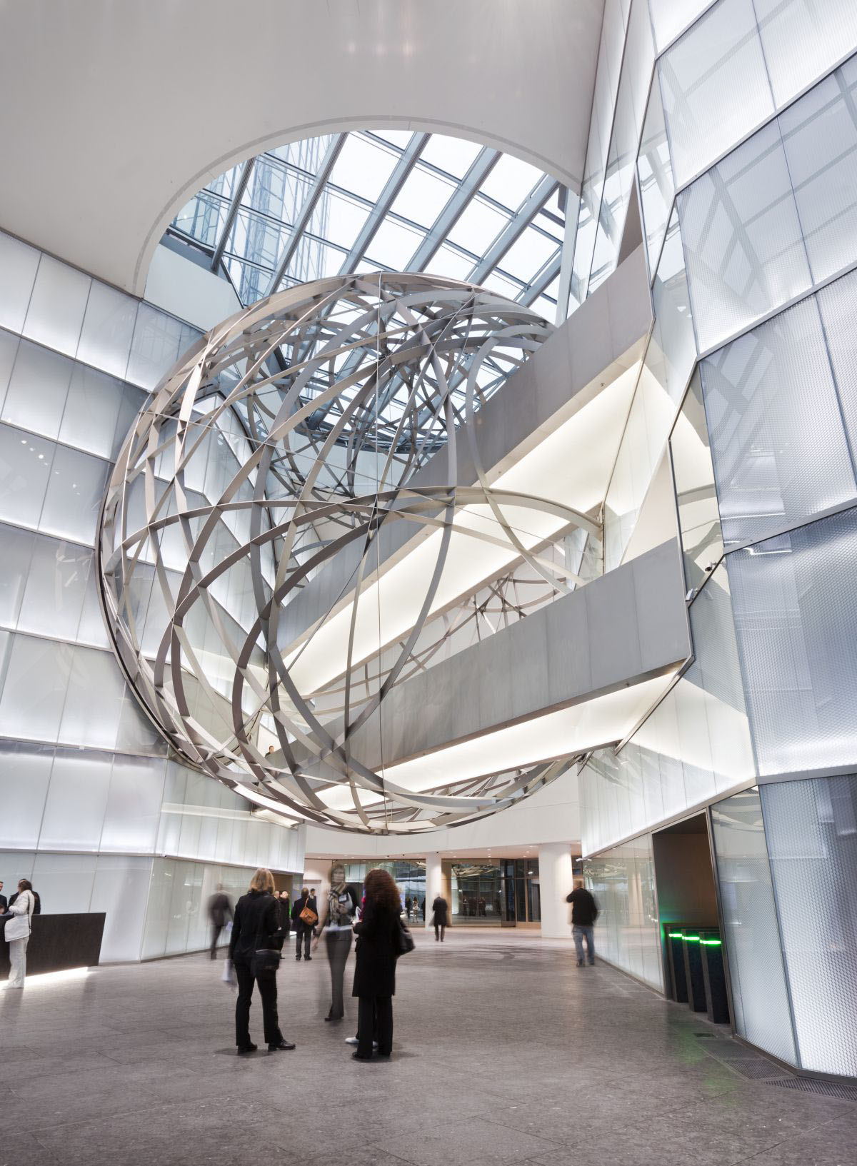 Deutsche bank steel sphere in frankfurt idesignarch for Metal building interior ideas