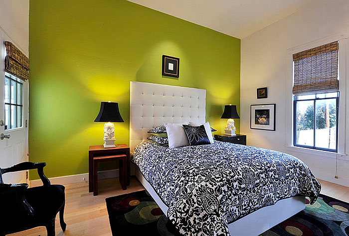 Bedroom with Green Wall