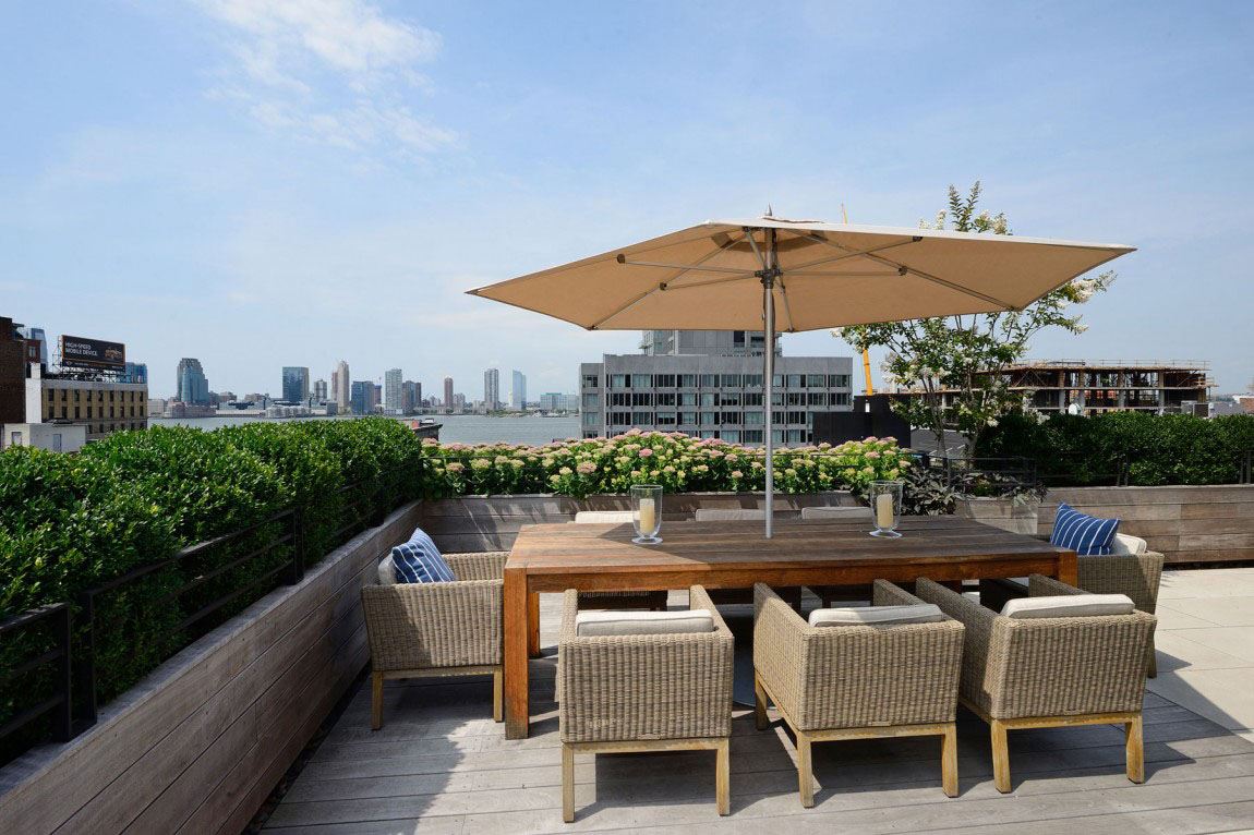 Rooftop Terrace with Hudson River View