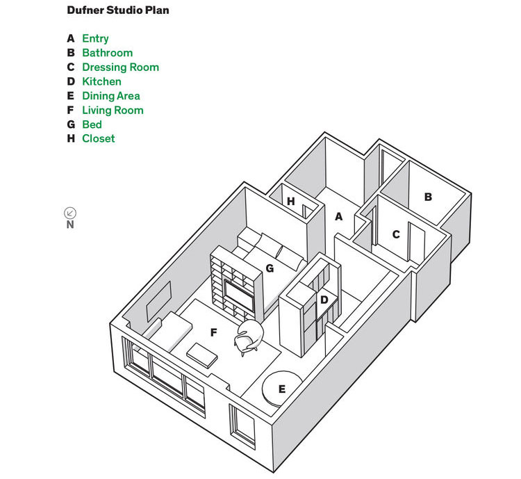 Studio Apartment Floor Plans New York new york greenwich village studio apartment with smart layout