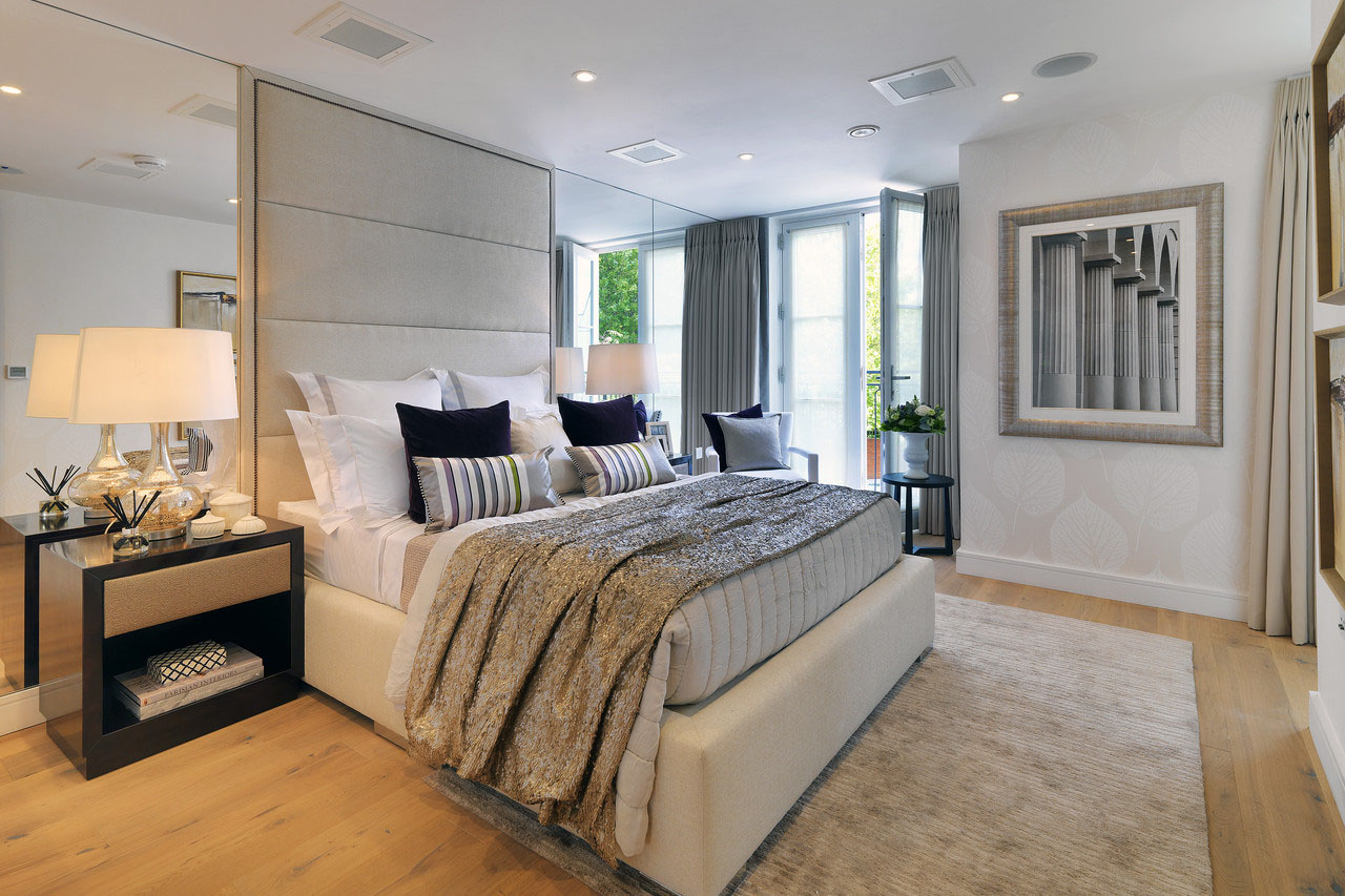 Luxury Contemporary Master Bedroom with Balcony