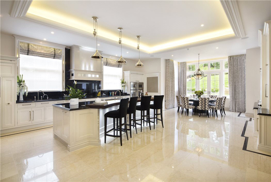Luxury Kitchen with Marble Floor