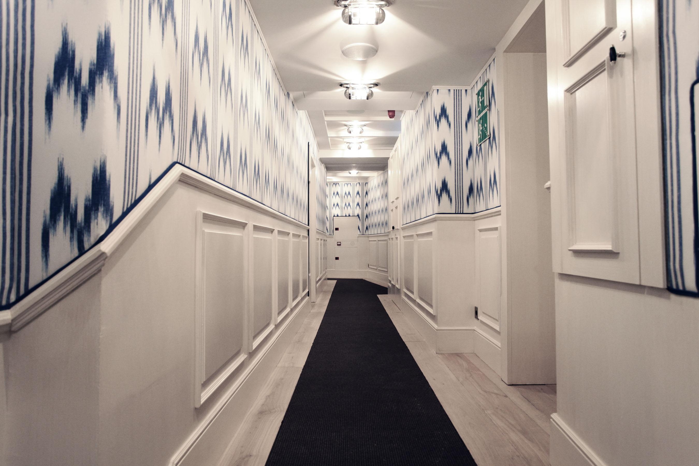blue-white Ikat-tapestry design