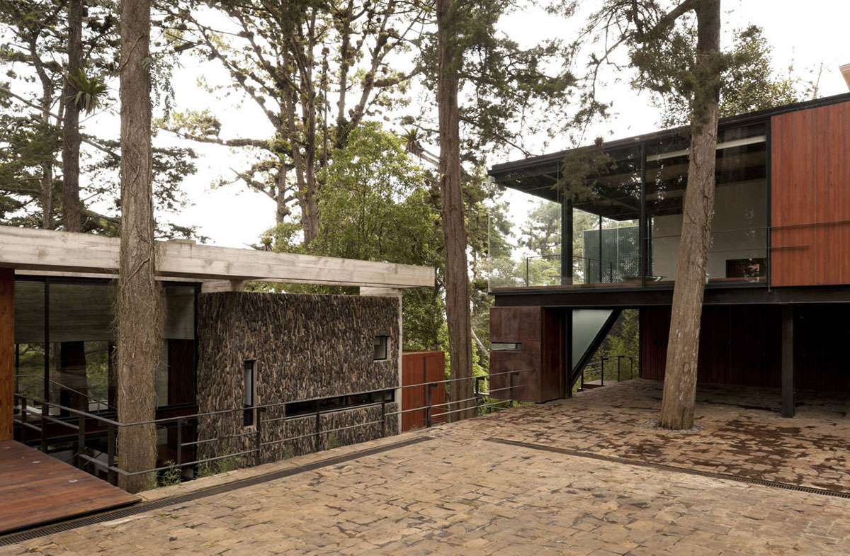 House In The Forest With Trees Interacting With Living
