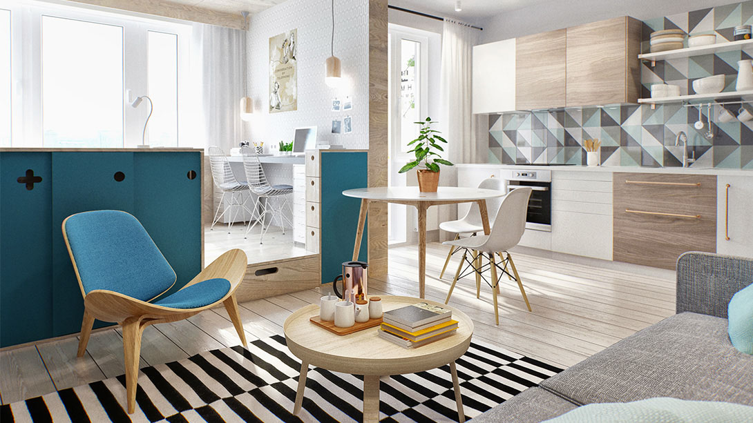 Studio Apartment Architecture moscow studio apartment with smart zoning space | idesignarch