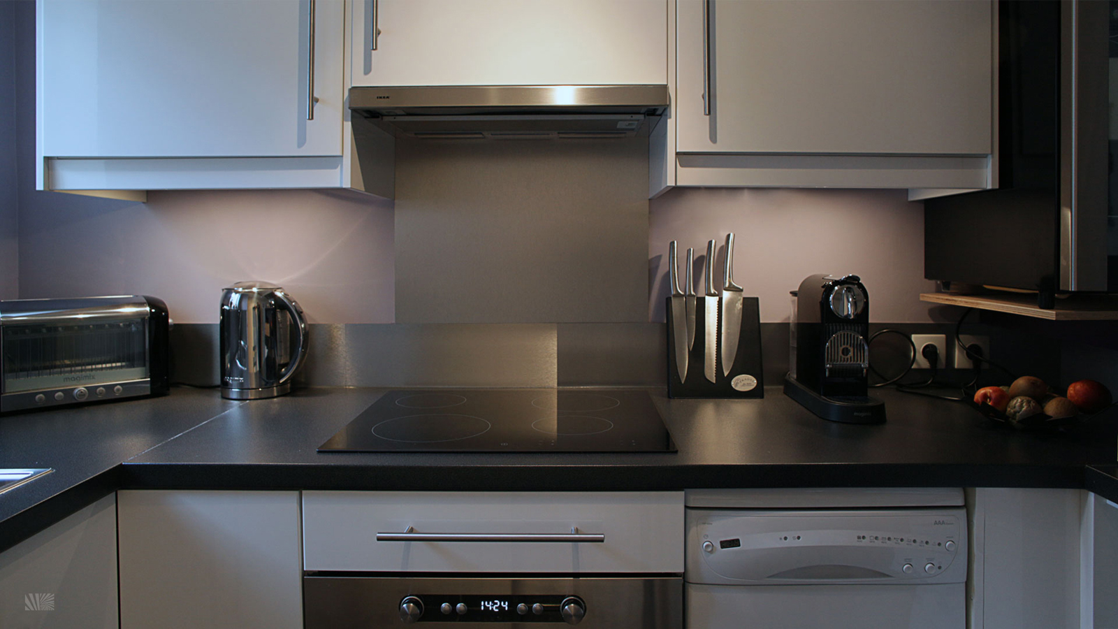 Stylish IKEA Kitchen For Small Space. This Modern Purple And White Kitchen  Design Utilizes Materials From IKEA ...