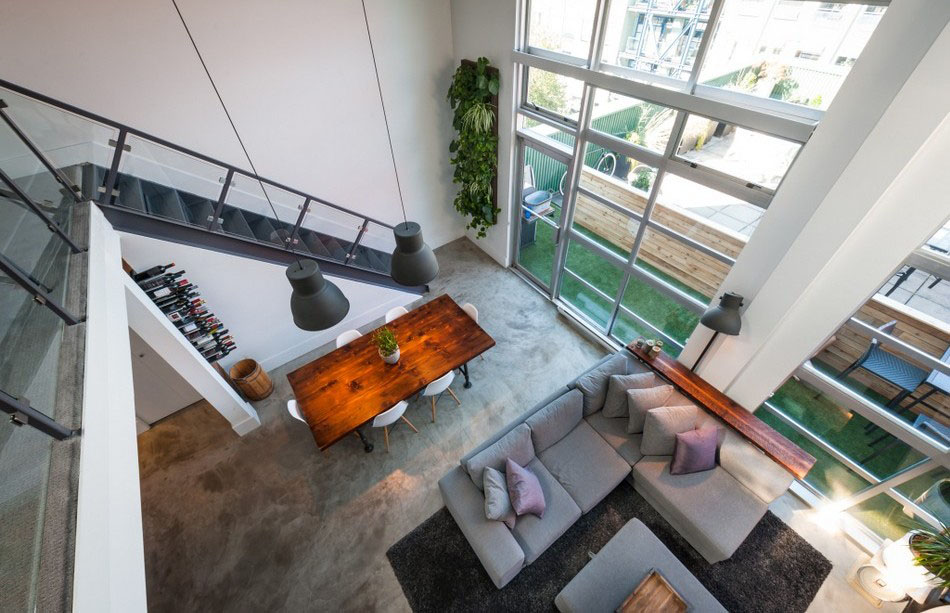 This double height industrial loft apartment in vancouver british
