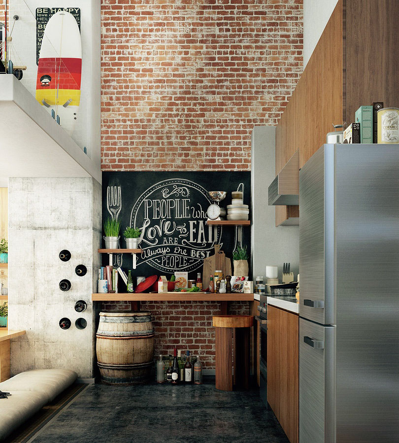 Wall Kitchen Design: Compact Loft Apartment With High Ceiling Creates Extra