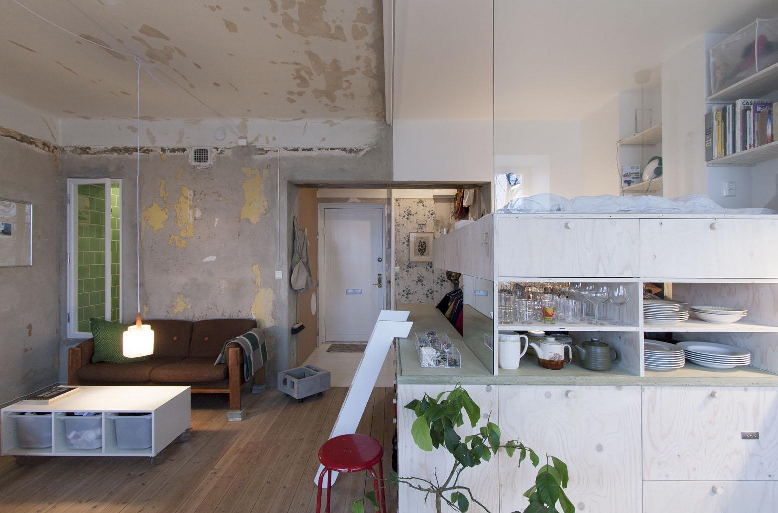 Loft Studio Apartment Inexpensive Studio Apartment Renovation With All In One Kitchen