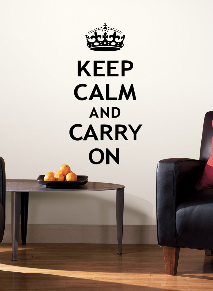 Keep-Calm-And-Carry-On-Wall-Decal Home Decor Design Ideas For Small Spaces on dining room for small spaces, decorating for small spaces, home offices in small spaces, kitchen for small spaces, bathroom for small spaces, window treatments for small spaces, home decor items, garden for small spaces, organization for small spaces, home decor modern, table for small spaces, home decor bedroom, home decor inspiration, lighting for small spaces, diy for small spaces, home decor accessories, modern furniture for small spaces, outdoor furniture for small spaces, inspiration for small spaces, decorating small living spaces,