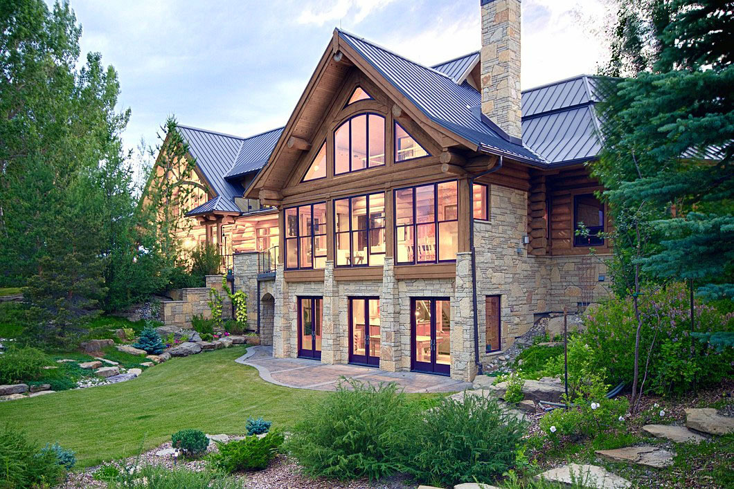 Luxury Country Stone Log Home