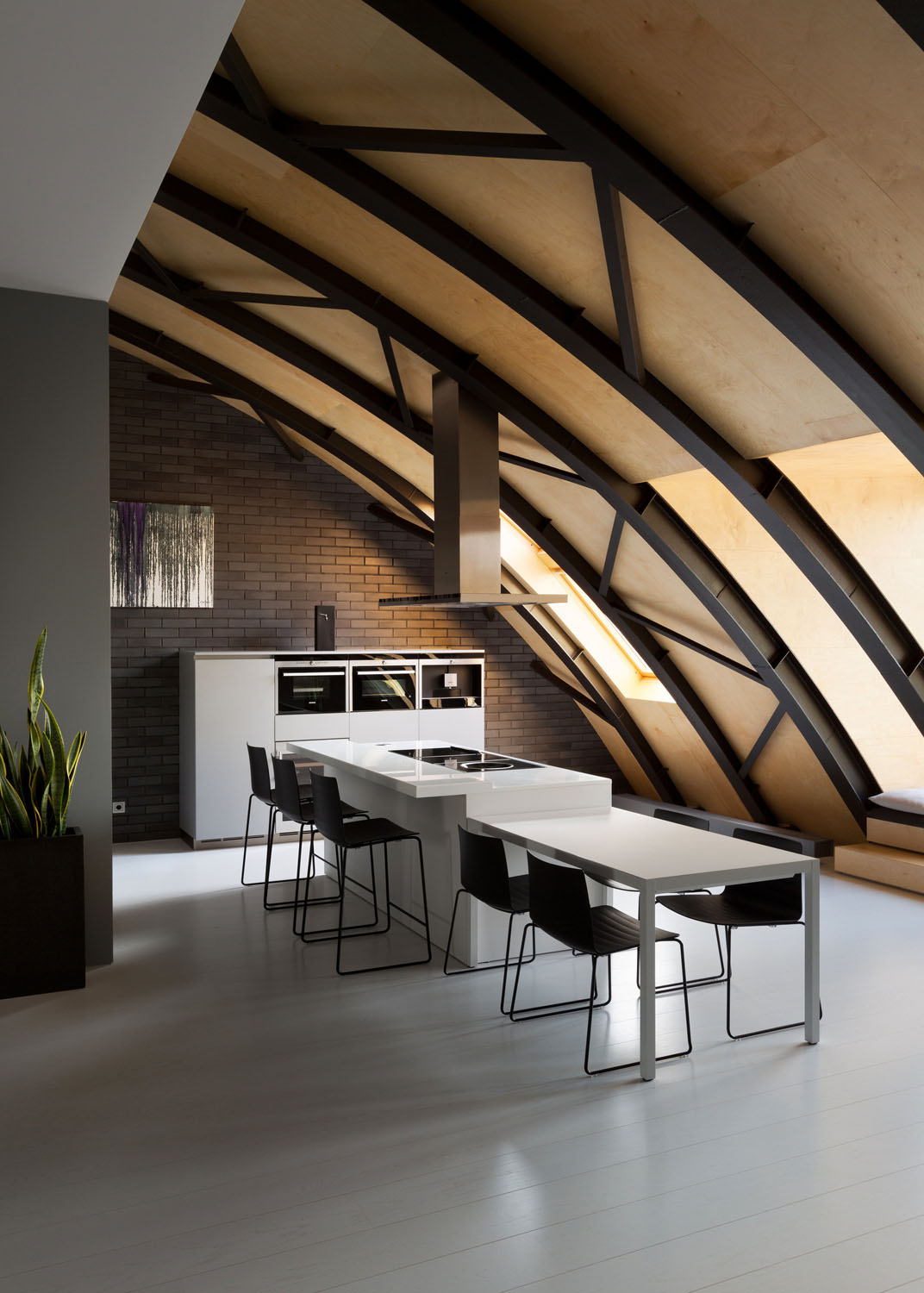 Loft with Steel Beam Curve Roof and Plywood Ceiling