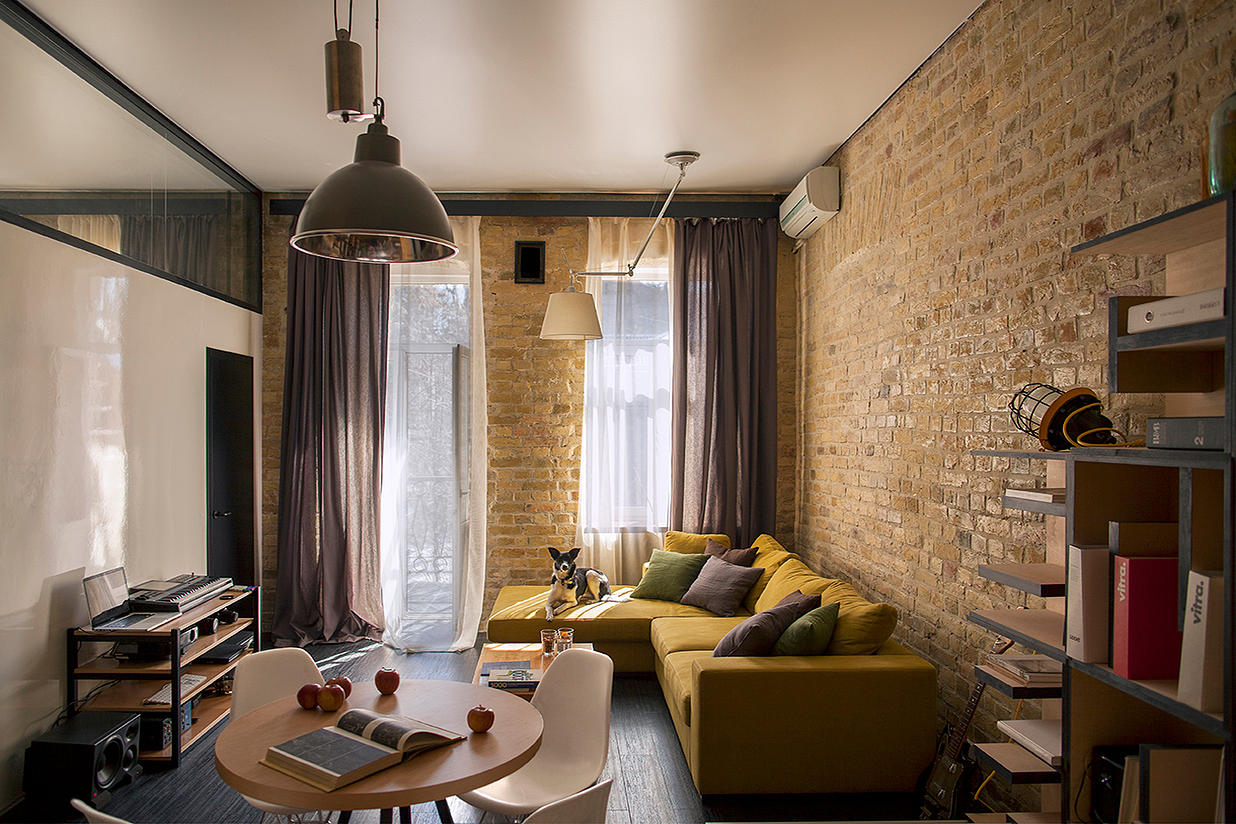 Modern Living Room With Brick Wall
