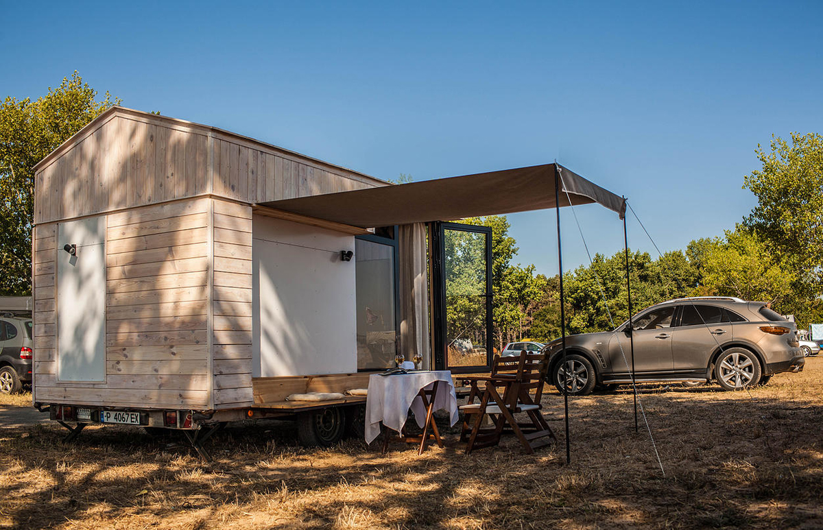 Mobile Tiny Cabin with Canopy