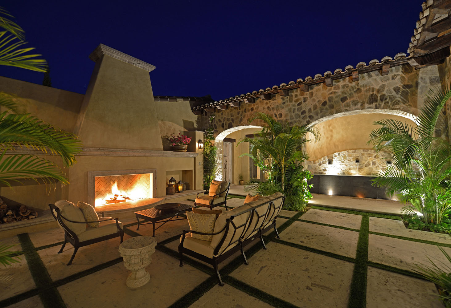 Courtyard with Fireplace