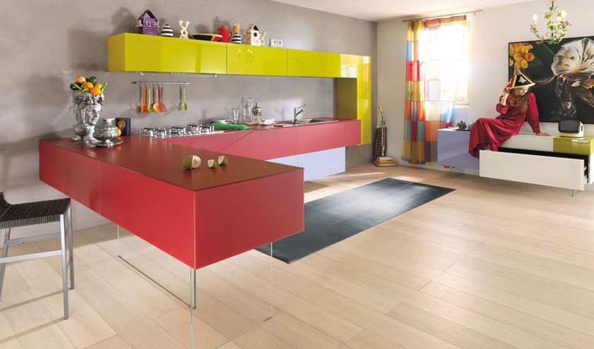 Contemporary Kitchens With Vibrant Colours