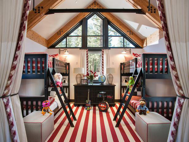 Modern Country Home Kids' Bedroom with Bunk Beds