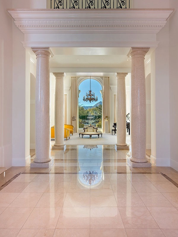 Hallway Grand Italian Marble Columns Classic Contemporary Elegant Interior Decor