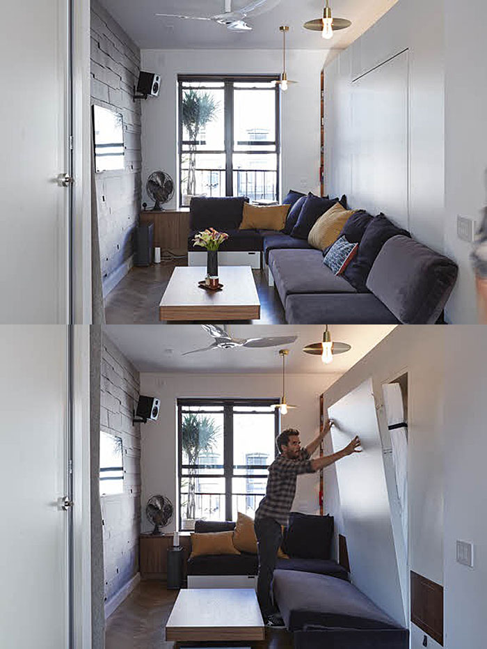Tiny 350 square foot smart apartment in new york city for Smallest apartment in nyc