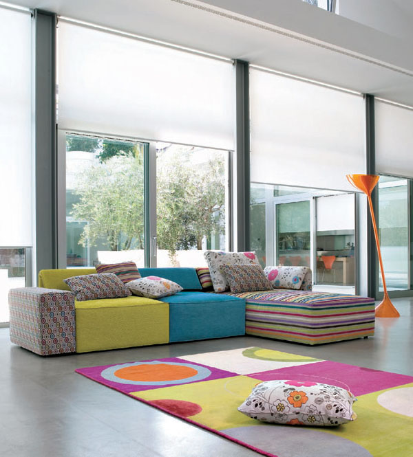 Living room ideas with kube sofa sets idesignarch for Colorful living room sets