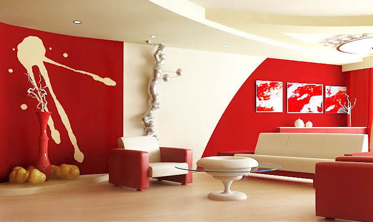 Red living room design ideas idesignarch interior for Red wallpaper designs for living room