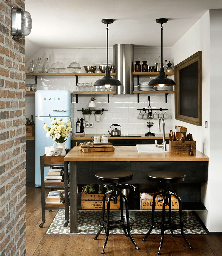 Custom reconstructed attic loft apartment with hipster for Attic kitchen designs